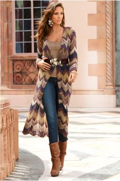 Boston Proper Pointelle zigzag duster