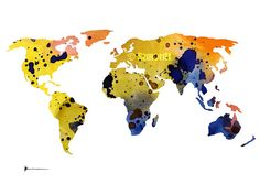 World Map  Yellow Blue Map Watercolor Print by Silhouetown on Etsy  #world #map #silhouette #colorful #painting