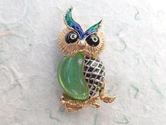 Dimensional Owl brooch green cabochon belly blue and green enamel figural AB892 by MeyankeeGliterz on Etsy