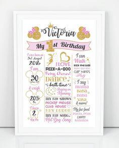 Cartel de cumpleaños de Minnie Mouse primero pizarra Minnie