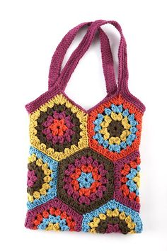 lionbrand crocheted hexagon market bag @Craft