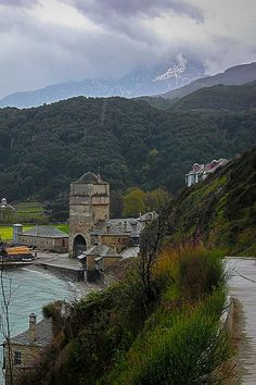 Athos, Iviron Monastery, the port Ancient Greek Theatre, Santorini Villas, Myconos, Empire Ottoman, The Holy Mountain, Roman Roads, Church Architecture, Beautiful Places To Travel, Ancient Ruins