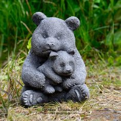 Happy Larry The adorable bear statue features a mother and baby bear enjoying cuddling time together. The heavy stone animal ornament is highly detailed and intricately carved. Rooster Statue, Bear Statue, Stone Garden Statues, Garden Stones, Animal Garden Ornaments, Garden Wind Spinners, Insect Hotel, Gnome Statues, Gardens