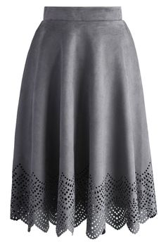 Grey Suede Cutout Midi Skirt - New Arrivals - Retro, Indie and Unique Fashion