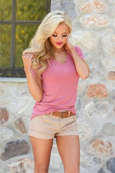 Hello There V-Neck Top - Dusty Rose from Closet Candy Boutique #fashion #ootd #spring