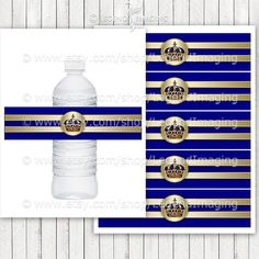 Royal Blue and Gold Prince Water Bottle Labels by LegendImaging