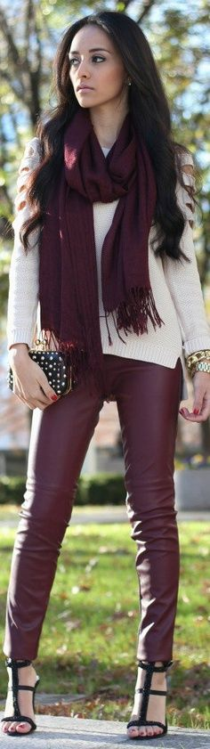 Fall fashion-scarf,leather pants and sweater