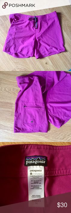 Fuchsia Patagonia swim shorts Tie in the front and a  pocket with zipper on the side of the right leg. No stains or tears. Great condition. Size 14 Patagonia Shorts