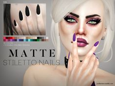 Matte stiletto shaped nails for your ladies, 40 solid colors + 10 double colored designs. Found in TSR Category 'Sims 4 Female Rings' Ongles Stiletto Mat, Stiletto Shaped Nails, Matte Stiletto Nails, Sims 4 Mm Cc, Sims 4 Cc Skin, Sims 4 Nails, Cc Nails, Sims 4 Piercings, Sims 4 Cc Shoes