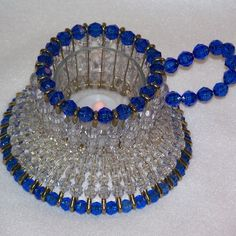Blue Teacup Bead and Safety Pin Votive Candle by TheBeadLadi