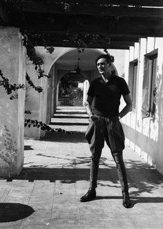 Gary Cooper wearing jodhpurs in Palm Springs, CA in December 1932.