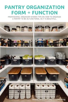 Organizing a pantry is half art and half science. Neat Little Nest enjoys exploring both aspects when creating beautiful pantry spaces for our clients. #pantry #thehomeedit #pantrystorage #pantryorganization #storagebins #organization #organizationhacks #organizationideas #storagehacks #kitchenorganization