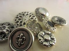 Vintage  Buttons   lot of 8 silver filigree by pillowtalkswf, $5.75
