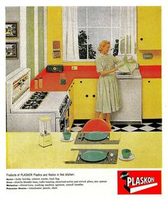 1957 ad for Plaskon Plastics and Resins, in which a housewife admires her melamine washing machine agitator.