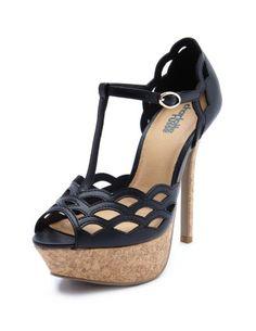 Scalloped T-Strap Cork Heel