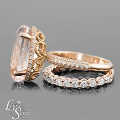 Gorgeous! Peach Morganite Engagement Ring Oval