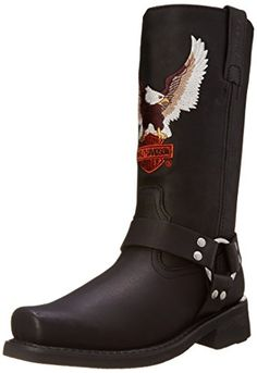Harley-Davidson Men's Darren Harness Boot Premium full grain leather upper Goodyear welt construction Oil and slip resistant outsole Full length cushion sock lining Classic harness boot Botas Harley Davidson, Classic Harley Davidson, Harley Boots, Harley Gear, Motorcycle Boots, Chopper Motorcycle, Cool Boots, Black Leather Boots, Leather Shoes
