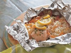 Grilled lemon and herb salmon packets -- Delicious dinner packets are perfect patio or picnic pleasers!