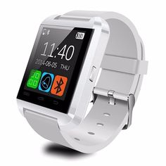 Happy-will U8 Watch SmartWatch Bluetooth 3.0 Silicone Wristband Smart Watch for iOS iphone Android smartphone (White)