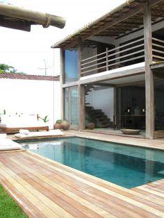 pool deck (Casa Lola, rental property in Trancoso, Brazil) Exterior Design, Interior And Exterior, Piscina Spa, Outdoor Spaces, Outdoor Living, Indoor Outdoor, Architecture Design, Swimming Pool Designs, My Dream Home