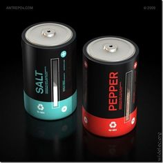 """""""Salt & Pepper Cell"""" shakers by Antrepo Design Salt Pepper Shakers, Salt And Pepper, Clever Inventions, Crazy Inventions, Amazing Inventions, Battery Lights, Battery Lamp, Bottle Design, Packaging Design Inspiration"""