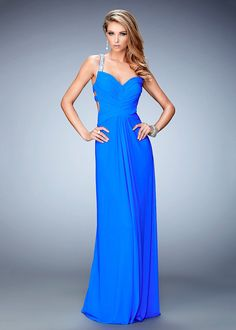 2016 Ruched Bodice Blue Stretch Evening Dress Outlet