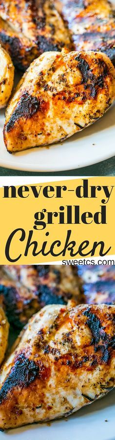 This recipe for grilled chicken is the best ever - never dry, full of flavor, and great for salads!
