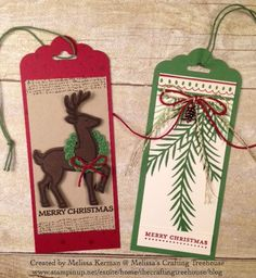 DIY handmade Tags made with two of my favorite bundles in the Stampin' Up! Holiday Catalog, Christmas Pines and Santa's Sleigh. These are a few add on projects to a Christmas Decor class being offered now.