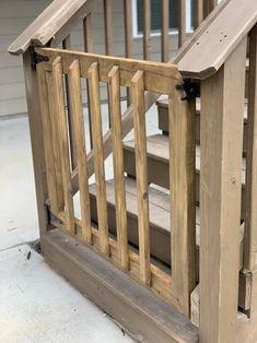 Wood Deck Railing, Deck Stairs, Railing Ideas, Deck Railing Systems, Diy Gate, Diy Baby Gate, Baby Gates, Porch Gate, Building A Gate