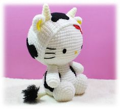 PDF Pattern Amigurumi Hello Kitty in Ox  Costume / by furinn, $5.50