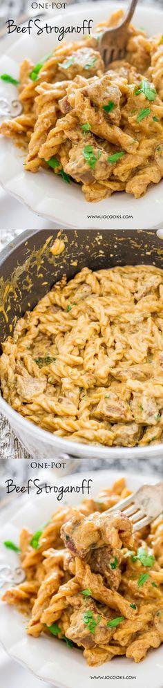 One-Pot Beef Stroganoff Recipe | Jo Cooks - The Best Easy One Pot Pasta Family Dinner Recipes