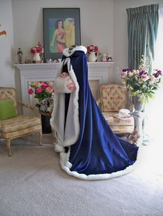 Victorian Bridal cape 73 inch Navy Blue / IVORY by capeandcrown13