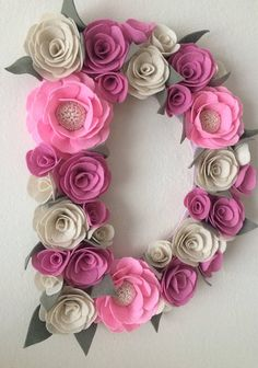 BUY 2 WOODBASE LETTERS GET ONE FREE! This beautiful flower letter is made of handmade felt flowers. All flowers are created by me and applied with too much care and love. Flowers and leaves are applied on fabric covered cardboard or on wood letter. I am always open to custom orders