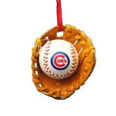 Chicago Cubs Ball and Glove Christmas Ornament