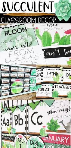 This classroom decor set is perfect for your succulent themed classroom! Includes editable resources to make it your own! Modern Classroom, Classroom Desk, Middle School Classroom, Classroom Setting, Future Classroom, Classroom Themes, Desk Organization, Classroom Organization, Letter Wall Art
