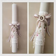 Handicrafts: Πασχαλινές Λαμπάδες 2018 Baby Baptism, Christening, Baptism Dress, Crafts For Girls, Diy And Crafts, Shabby Chic Candle, Easter Crafts, Easter Ideas, Palm Sunday