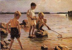 ⚓♡salt air⊰⛵  . garçons jouant sur la rive - Artiste Albert Edelfelt 1884 Finlande .... ❥•*`*•❥
