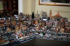 view of Dickens Village display Christmas Village Display, Christmas Village Houses, Christmas Town, Merry Christmas To All, Christmas Villages, All Things Christmas, Christmas Holidays, Christmas Decorations, Christmas Ideas