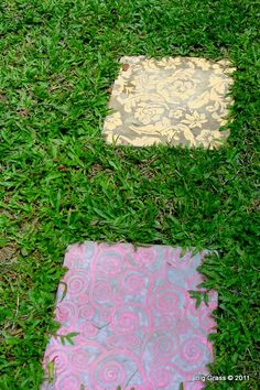 big grass - painted pavers- this would be cool in glow in the dark paint