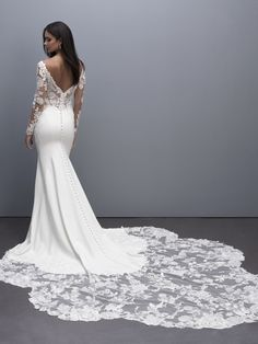 MJ703 by Allure Bridals- A sheath crepe gown that features stunning lace on the sleeves, bodice and petal shaped train. Wedding Dress Train, Dream Wedding Dresses, Designer Wedding Dresses, Bridesmaid Dresses, Prom Dresses, Bridal And Formal, Communion Dresses, Celebrity Dresses, Special Occasion Dresses