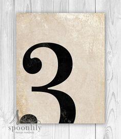 3 número tres lámina numerología decoración Vintage por SpoonLily