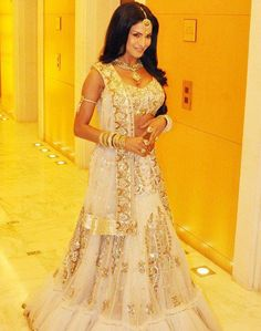 gorgeous cream bridal lengha. The top on the lengha has to cover the whole torso