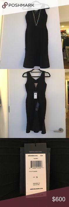 Brand new with tags Herve lever Klara dress Size Small ... never been worn brand new with tags! Klara dress! Gorgeous black Herve leger dress 100% authentic! Herve Leger Dresses Midi