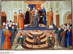 Froissart's magnficent portrayal of the coronation of Henry IV on 13th October 1399 in Westminster Abbey.  John Holland, Duke of Exeter, was present.  So, I imagine, was his wife Elizabeth although there is no record of it.