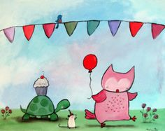 Woodland Nursery Wall Art Owl Turtle Mouse Whimsical Birthday Party Painting Cute Animals Childrens Decor