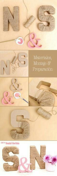 DIY Initials of jute lined and painted grooms – - Decoration For Home Diy Wedding, Rustic Wedding, Dream Wedding, Wedding Day, Deco Champetre, Diy Art, Diy Gifts, Wedding Planner, Diy And Crafts