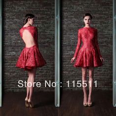 Free Shipping Sexy Scoop Short Sequin Applique Elie Saab Custom Made Red Long Sleeves Elegant Lace Backless Evening Dresses-in Evening Dress...