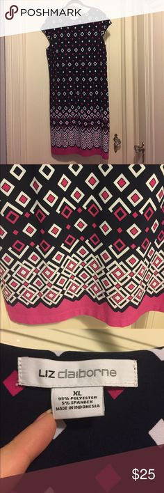 Navy & Pink Liz Claiborne Shift Dress A navy background are the perfect setting for the white and bright pink geometric design. Falls to the knee. I wore this once and it's been sitting in the closet so if I don't reach for it to wear, it's time to go! Liz Claiborne Dresses