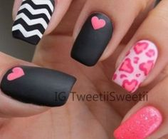 love heart nails art mat verniki sxedio