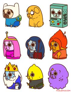 Puglie as Adventure Time characters. Finn, Jake, B-MO, Princess Bubblegum, Marceline, Flame Princess, Ice King, Lemongrab, Lumpy Space Princess
